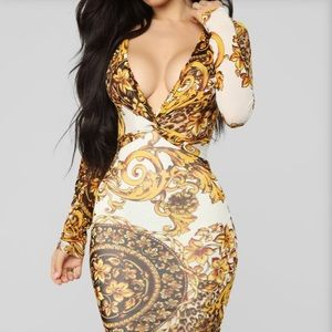 Gold leaf print dress